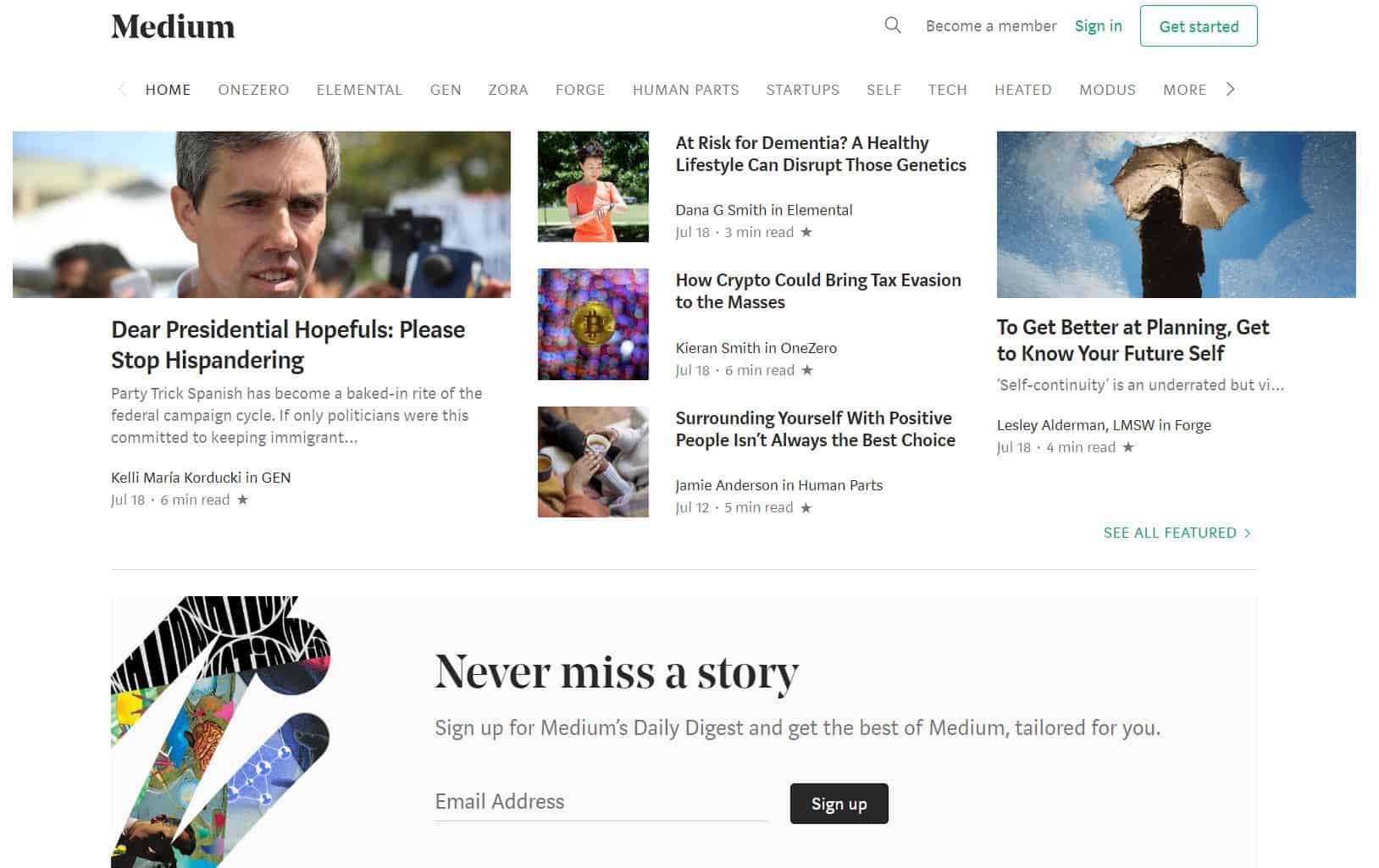 medium front page