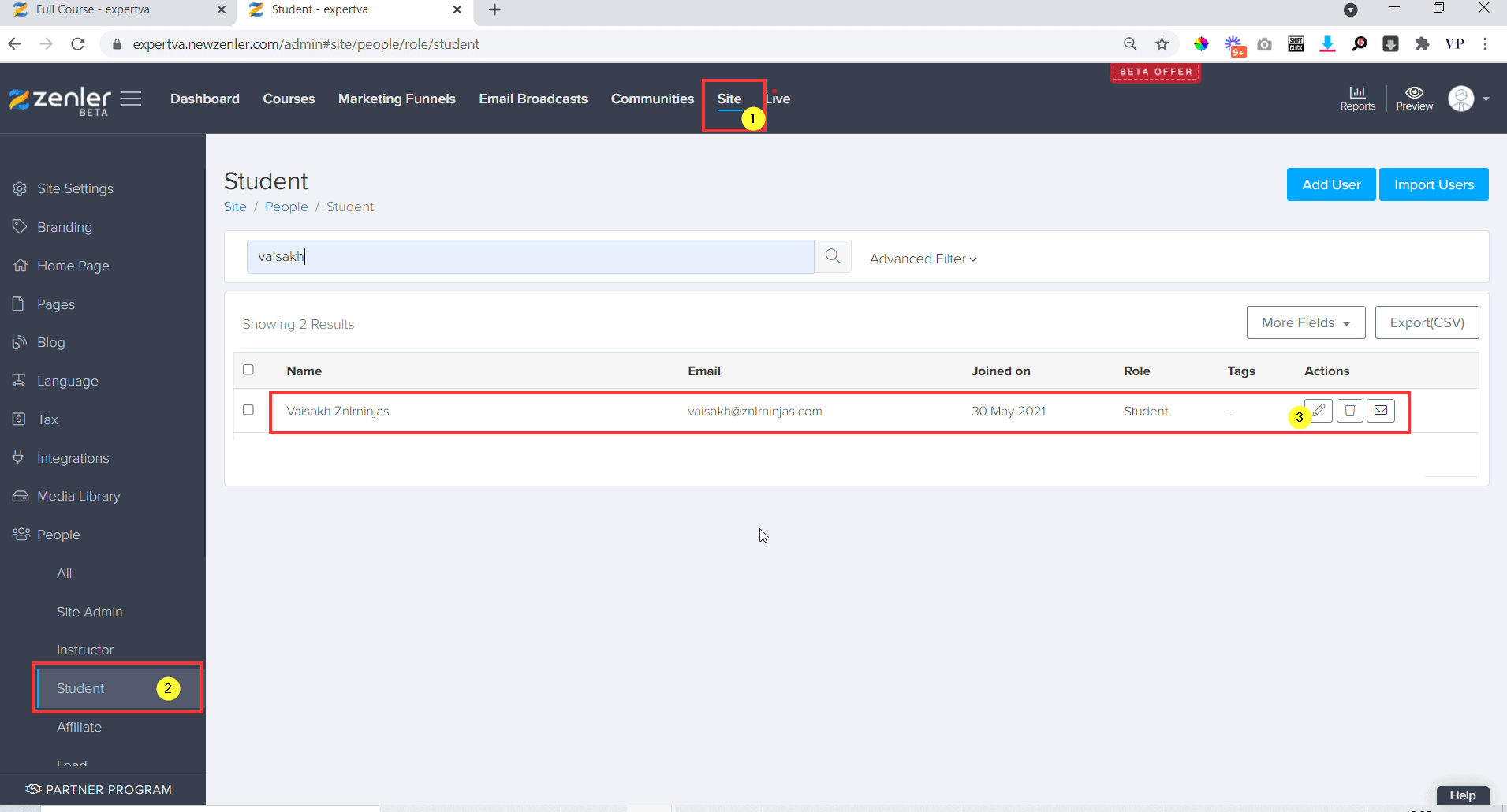 Go to Site people student and search the name of the student and click on edit button near the student details