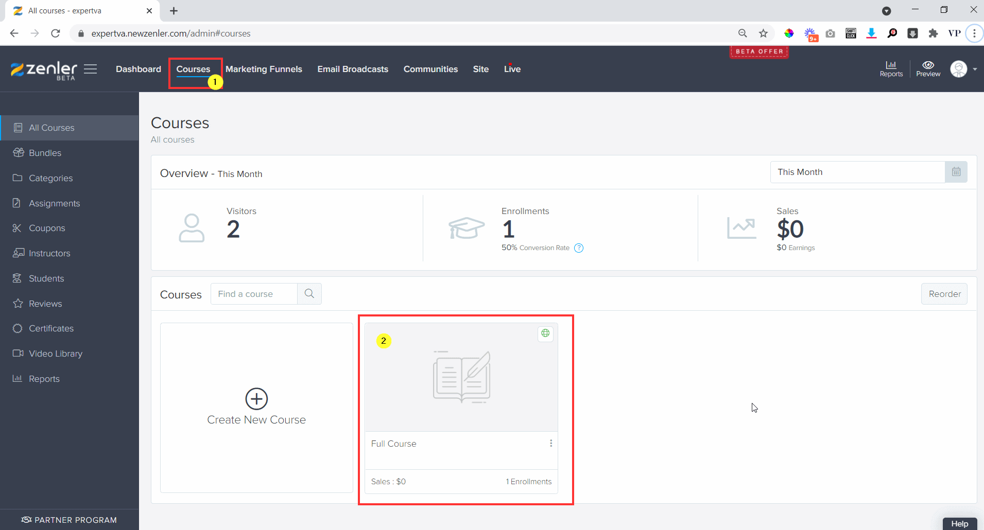 Go to your dash board, courses and select the course
