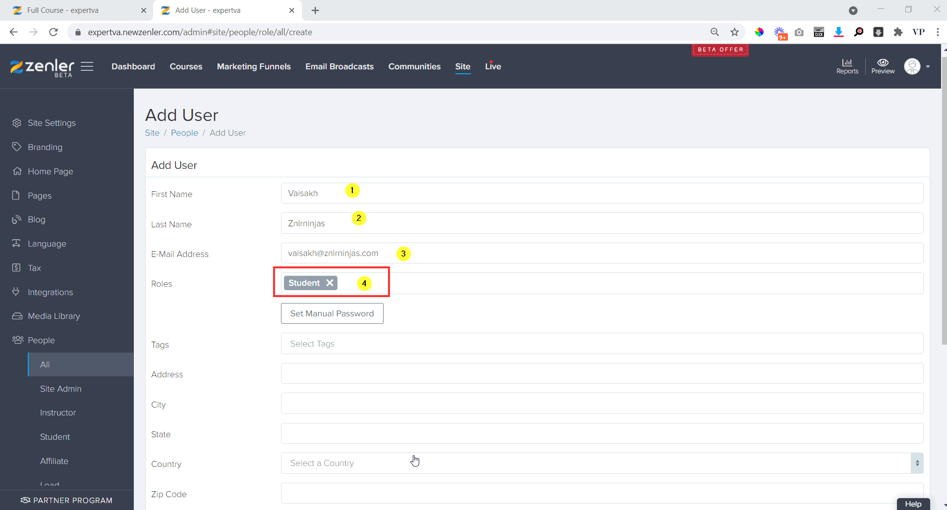 In the add user window, put in the details like name email etc.