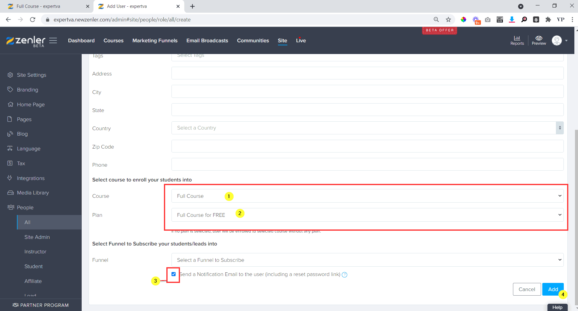 Scroll down and select the course namefor which you need to add the sudent