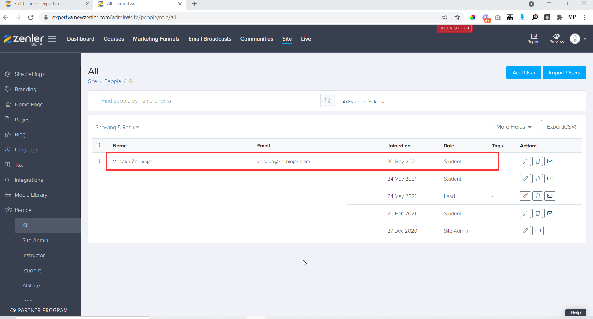You can see that the stident is added to your site