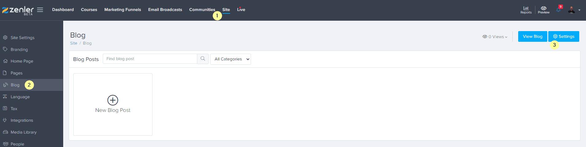 blog enabled settings