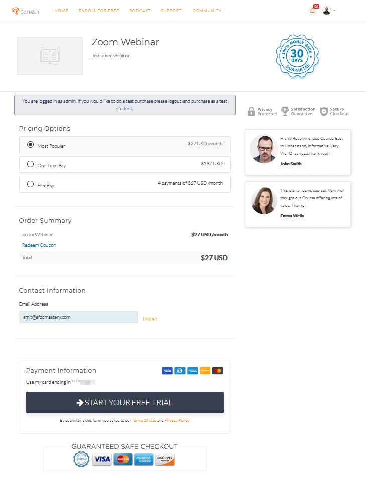 checkout page default