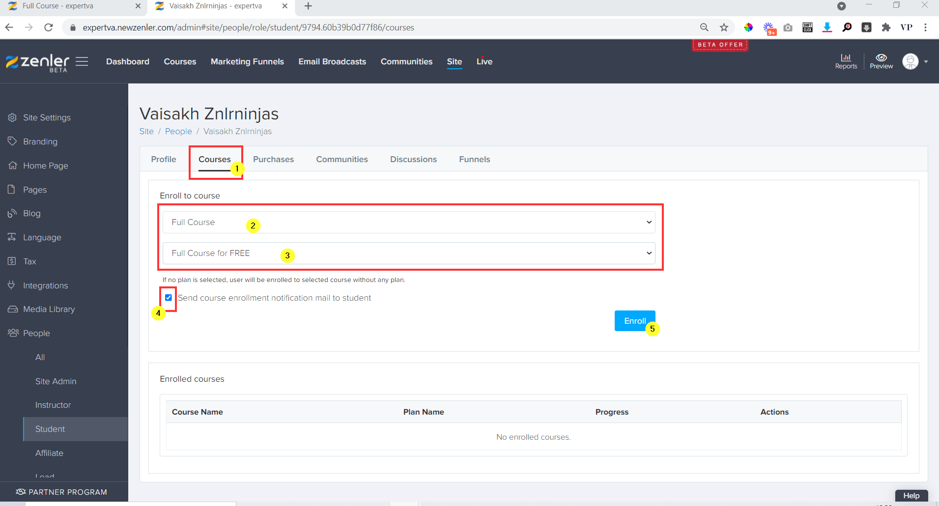 go to courses tab and select the course to enrol
