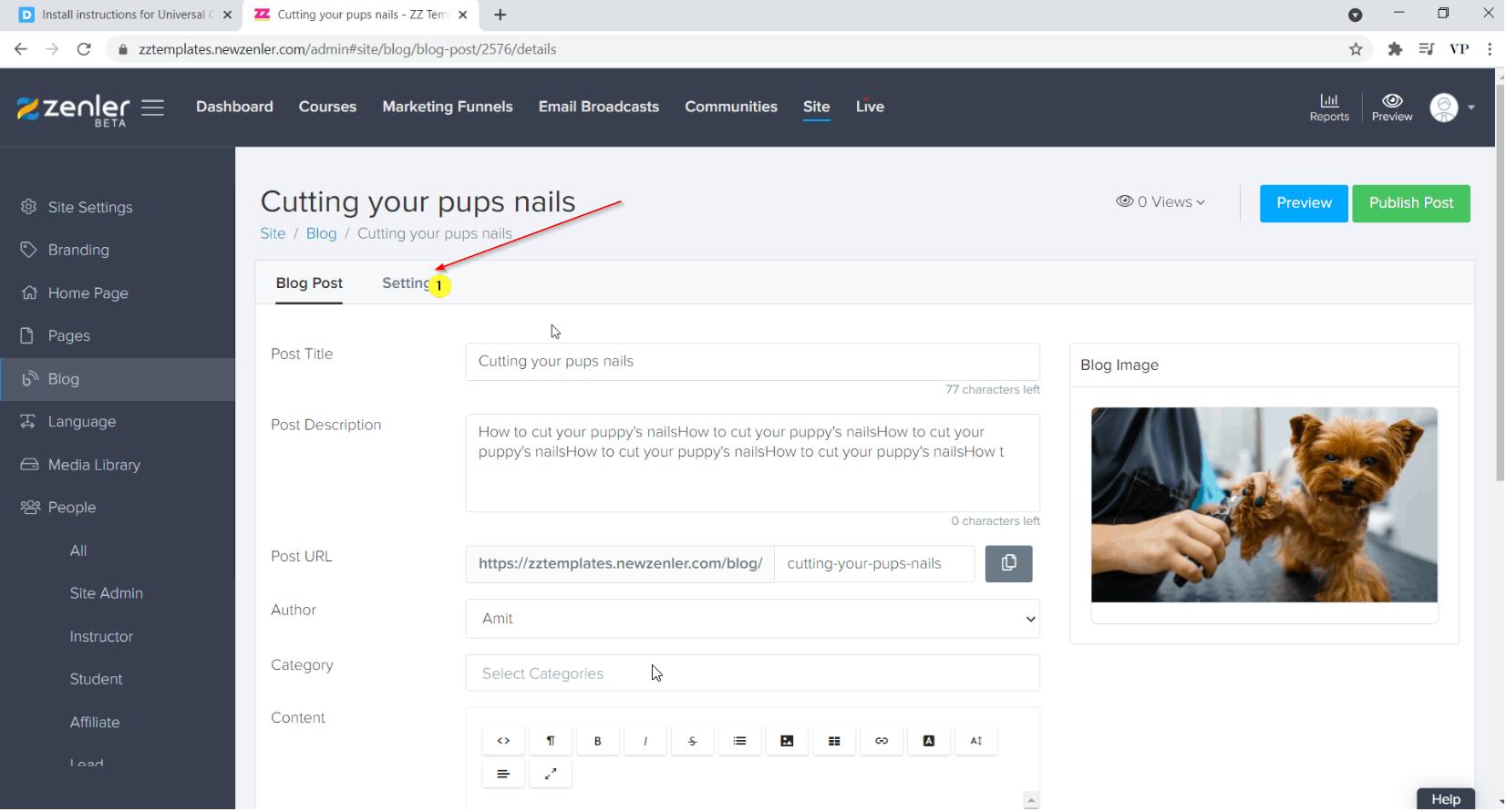 go to blog post settings