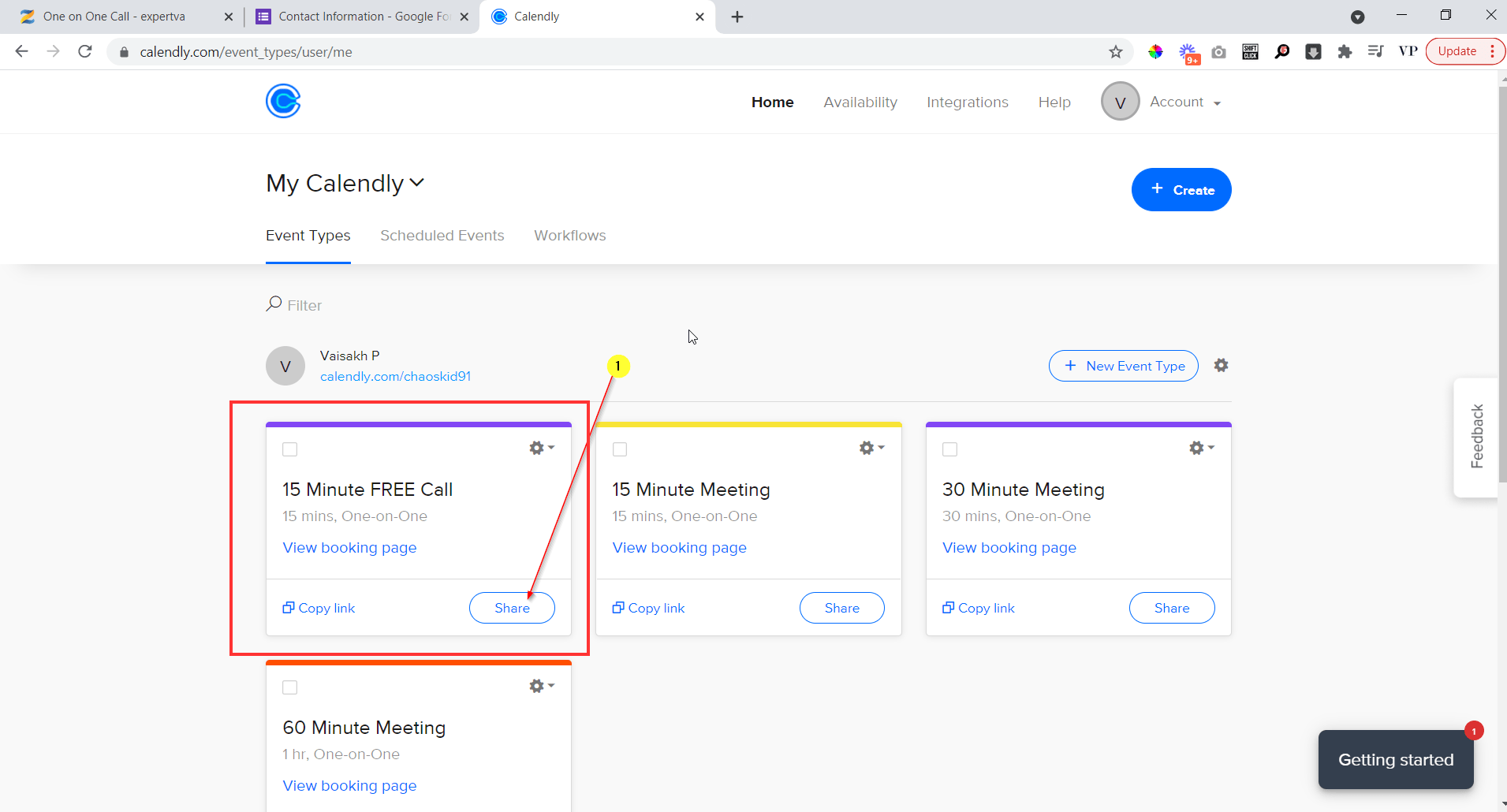 go to calendly and create an event