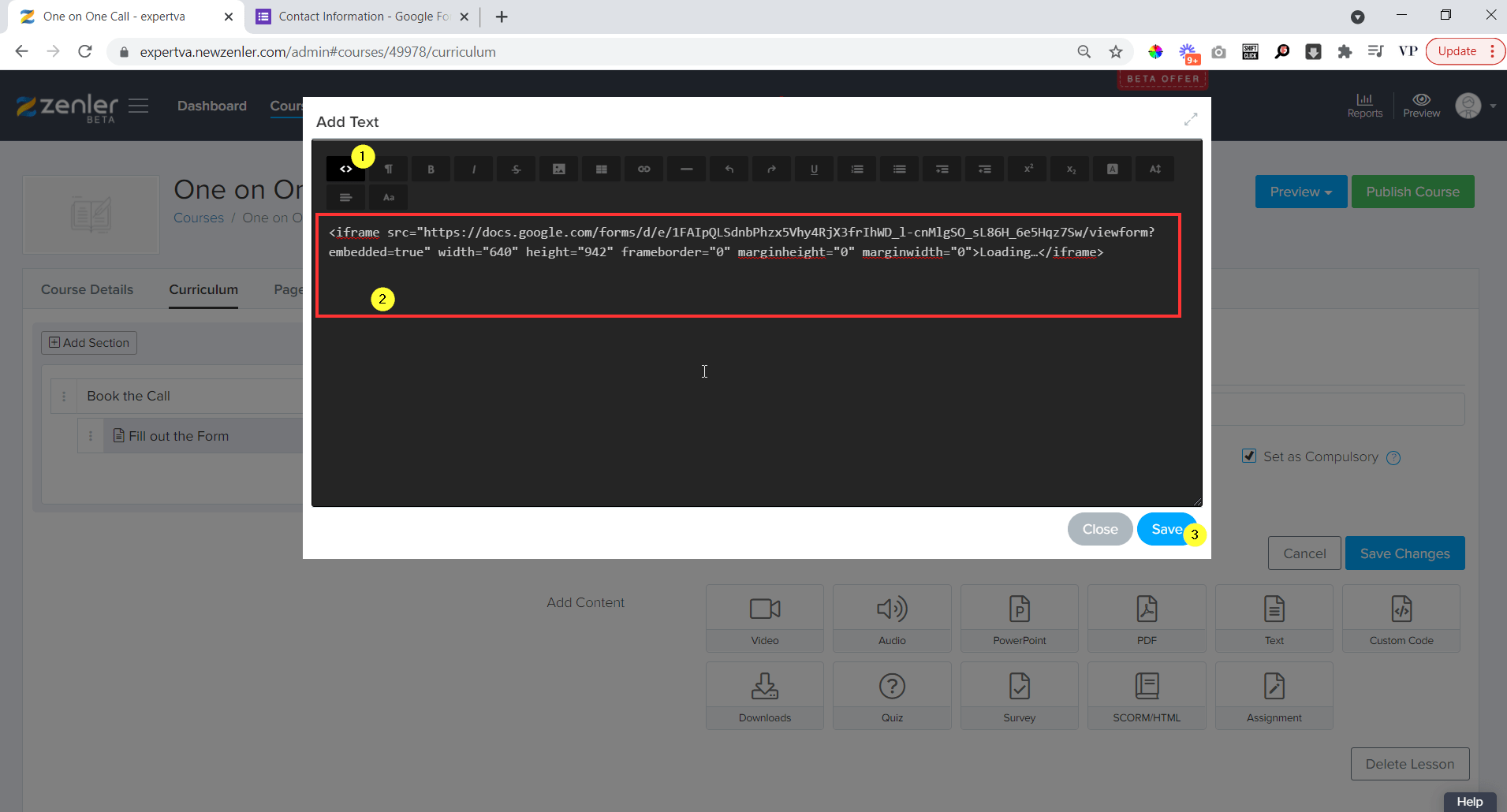 go to the code editor and paste the code and hit on save