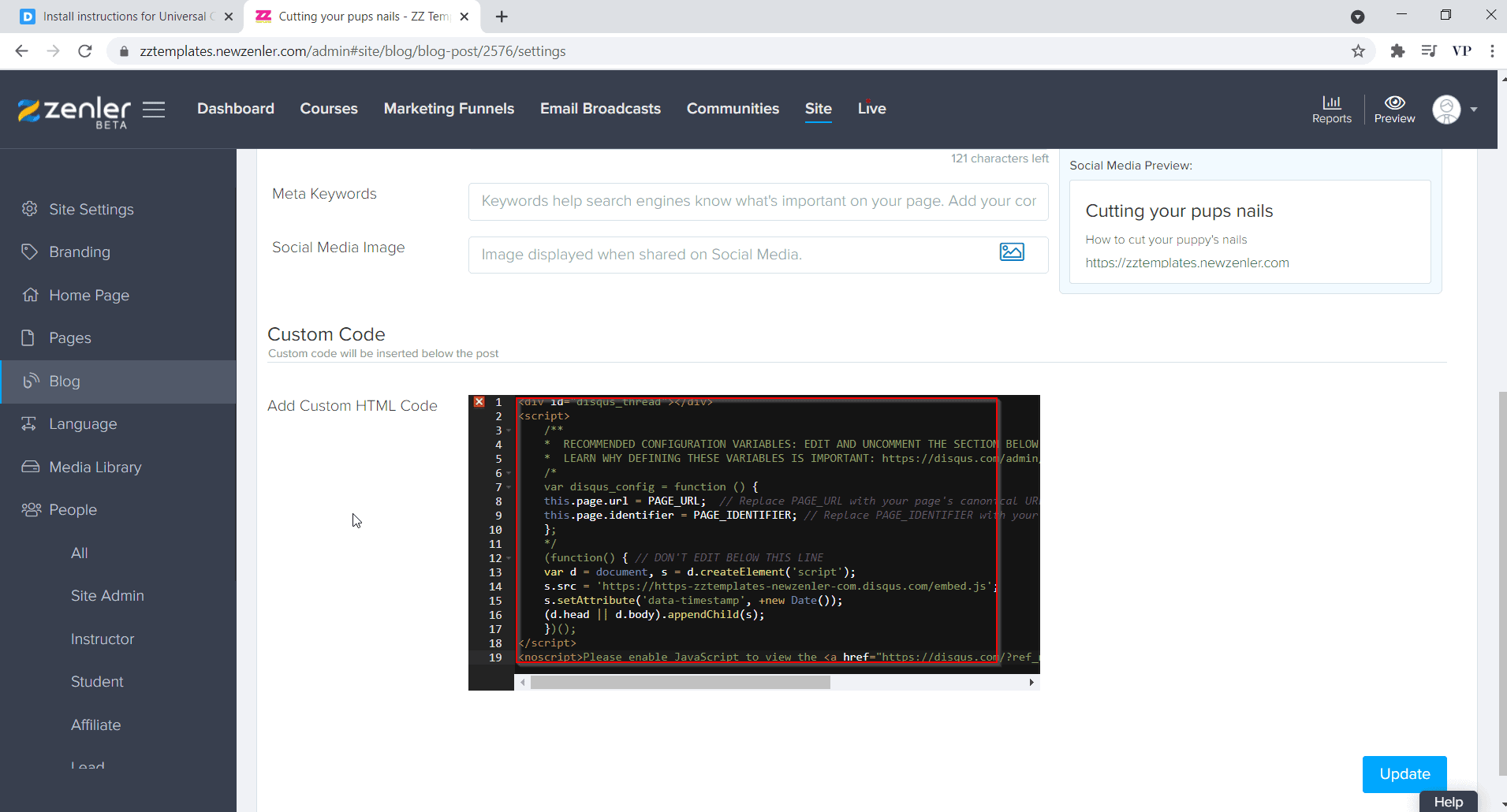 paste the code and click on update
