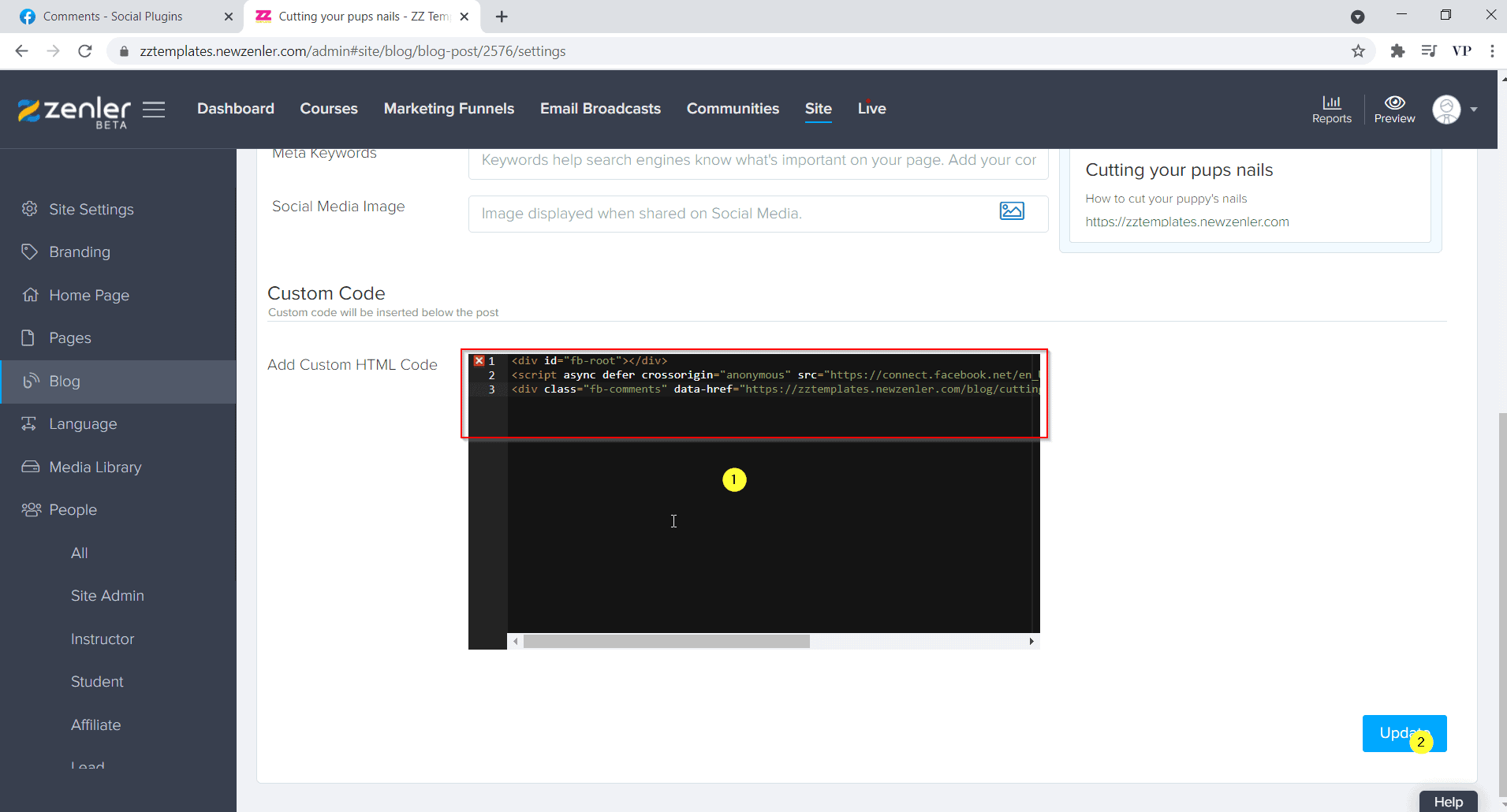 paste the code and click update